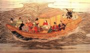 Vintage Japanese poster - Samurai warriors in rough sea